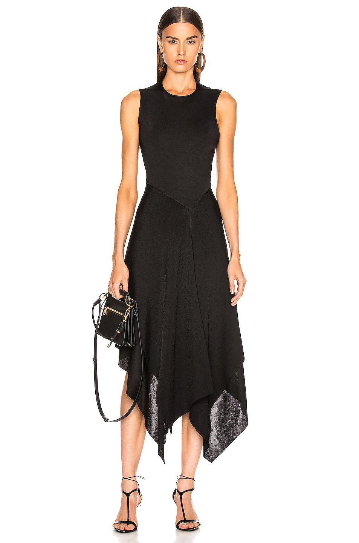 Victoria Beckham Cross Back Asymmetric Midi Dress In Black Fwrd Dresses Fashion Clothes Women Midi Dress [ 1440 x 953 Pixel ]