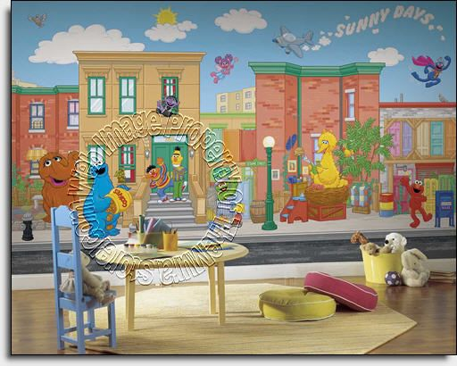 sesame street wall mural by roommates childrens wall on simply wall street id=81516