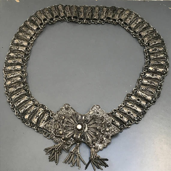 Antique Ottoman Filigree Belt   Necklace   Ethnic Jewelry