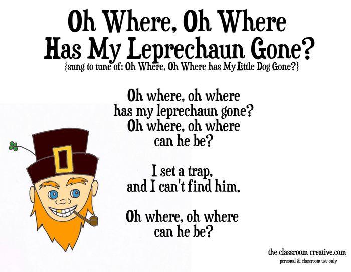 Leprechaun Classroom Visit Ideas ~ St patrick s day song poem