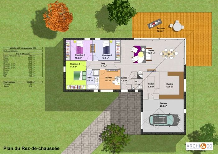 Construction maison plan avec terrasse plans de maison for Plan maison contemporaine plain pied