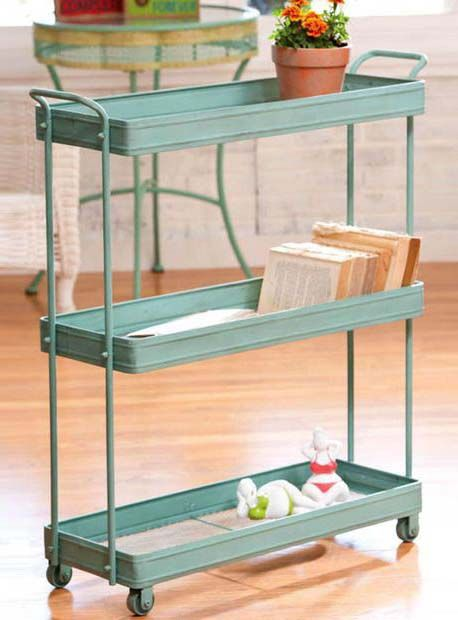 Three Tier Tray Cart Cute For A Rolling Bookshelf