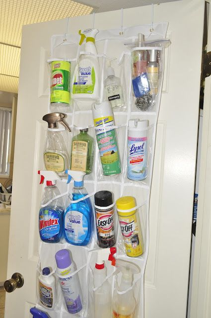 Shoe Organizer Used To Hold Cleaning Supplies Could Put On Back Of Hall Closet Door Open Up The Little