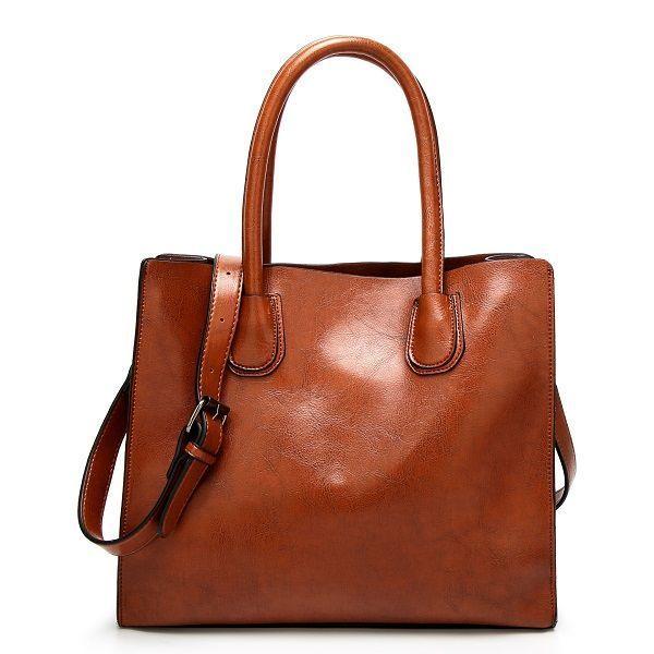 Women Quality Oil Wax Leather Large Capacity Handbag Shoulder Bag Crossbody Courage B Handbags