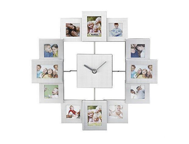 12 Picture Photo Frame Clock Display Living Room Decor Family Collage Silver New With Images Wall Clock With Pictures Photo Wall Clocks Photo Frame Wall