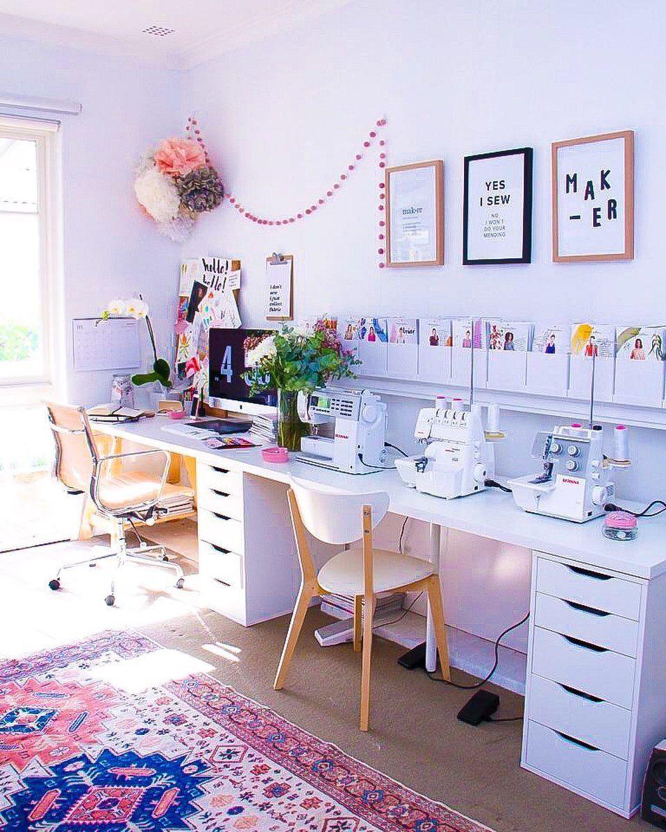 """FROU-FROU on Instagram: """"Espace couture / de travail. On adore l'espace toute en longueur. Bon dimanche !"""