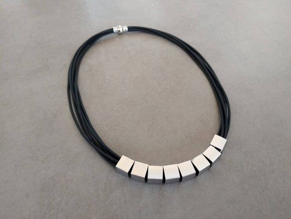 Photo of Black Leather Necklace, Silver Necklace, Leather Bib Necklace, Statement Necklace, Silver Cube Collar Necklace, Strings Necklace Geometric