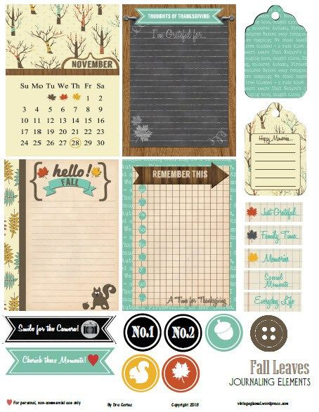 Free Printable Download – Fall Leaves Journaling Elements