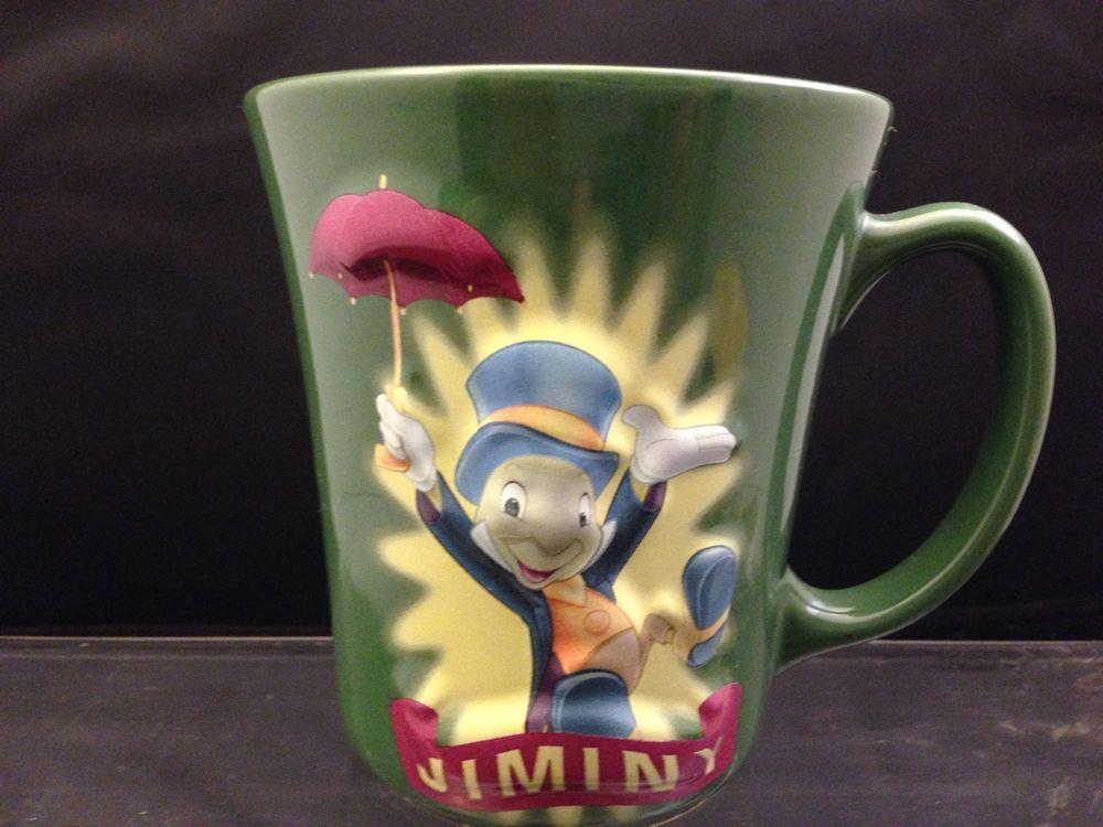 Disney Store Jiminy Cricket Green Ceramic Mug Cup 3d Pinocchio Jiminey Coffee Disney Mugs Mugs Jiminy Cricket