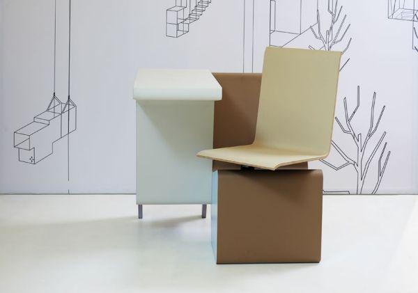 Designer Möbel – Komposition aus Schreibtisch, Drehstuhl und Regal ...