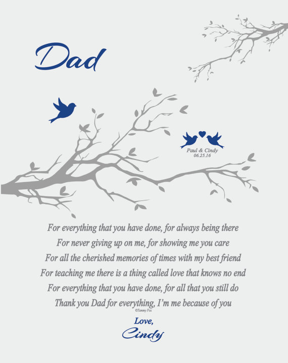 Wedding Thank You Gift for Dad from Daughter or Son