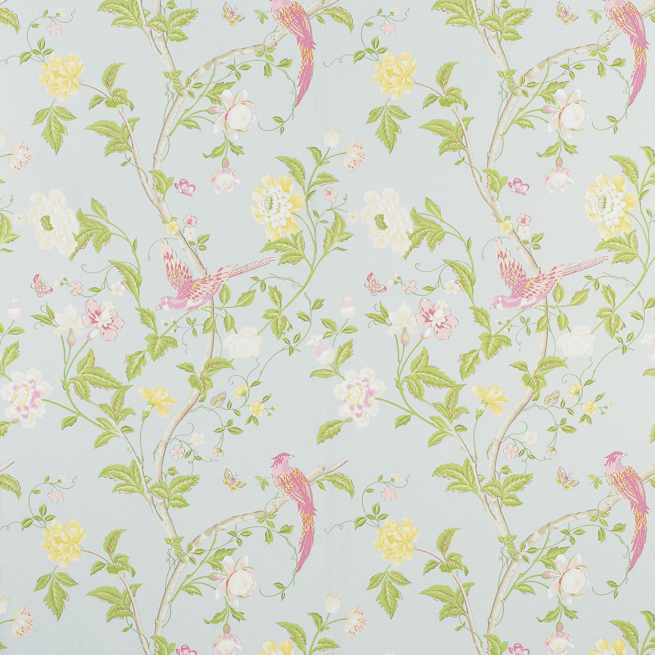 LauraAshleySS14. This wallpaper is floral & duck egg blue