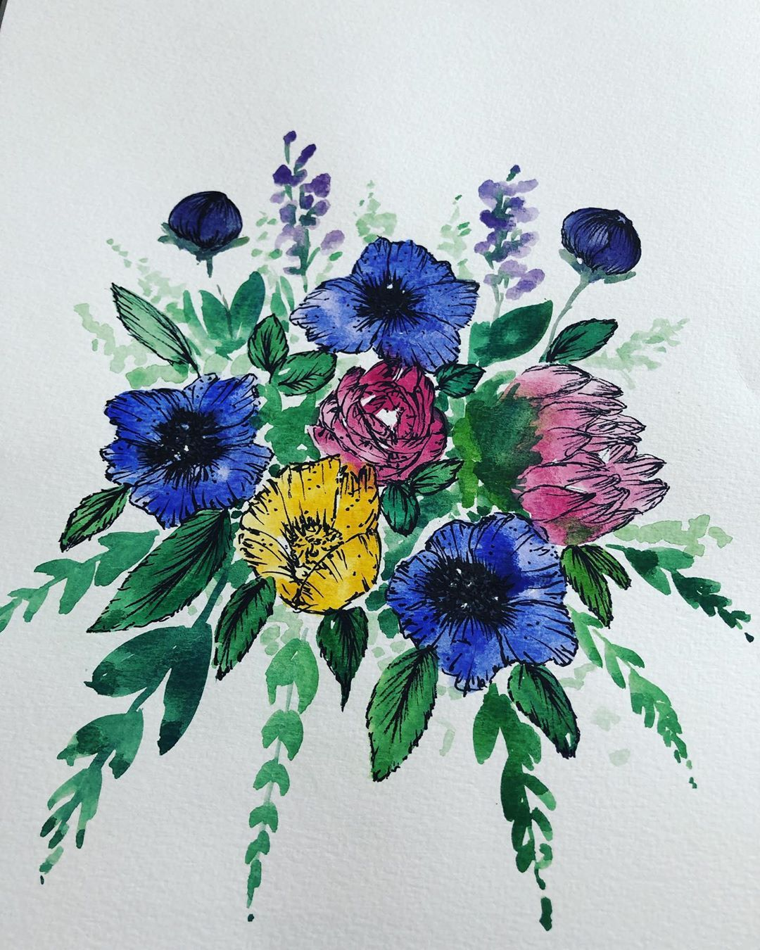 Bouquet flower flowers drawing painting