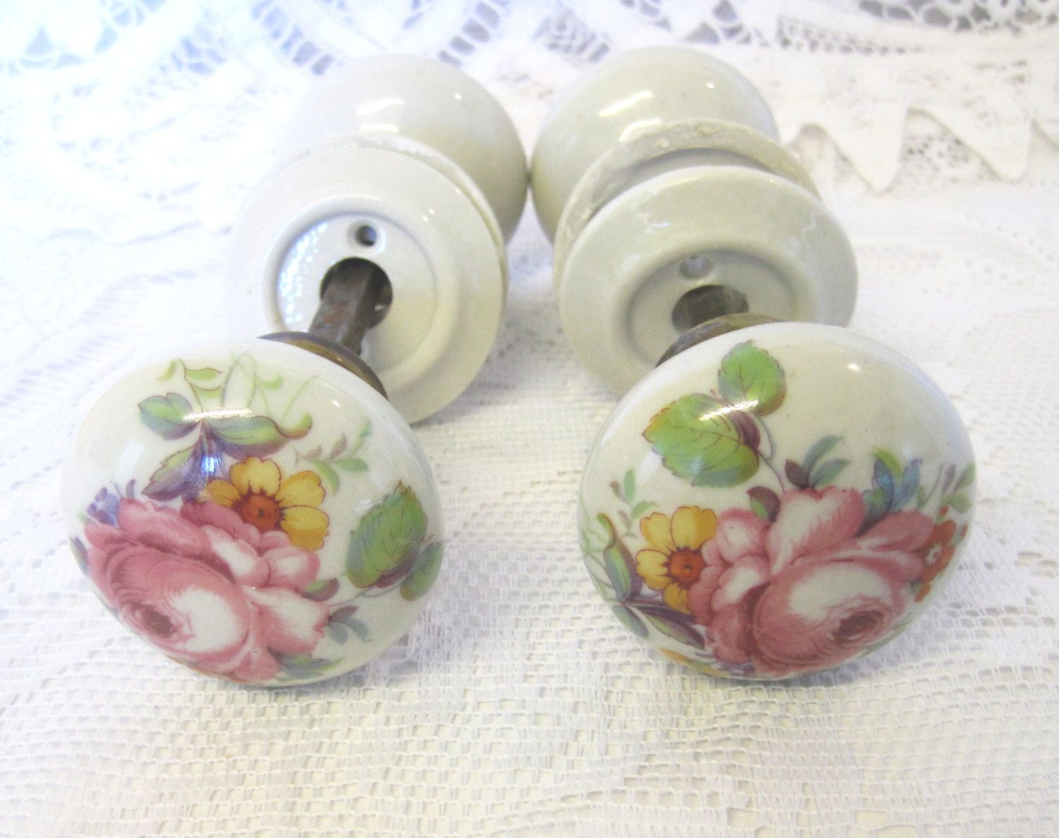 2 Pairs Floral Porcelain Door Knobs With Fittings, Shabby Chic Door Handles,  SOLD