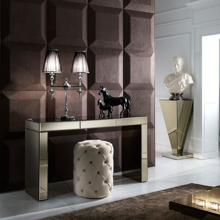 Modern Designer Bronze Mirrored Console Table With Drawer