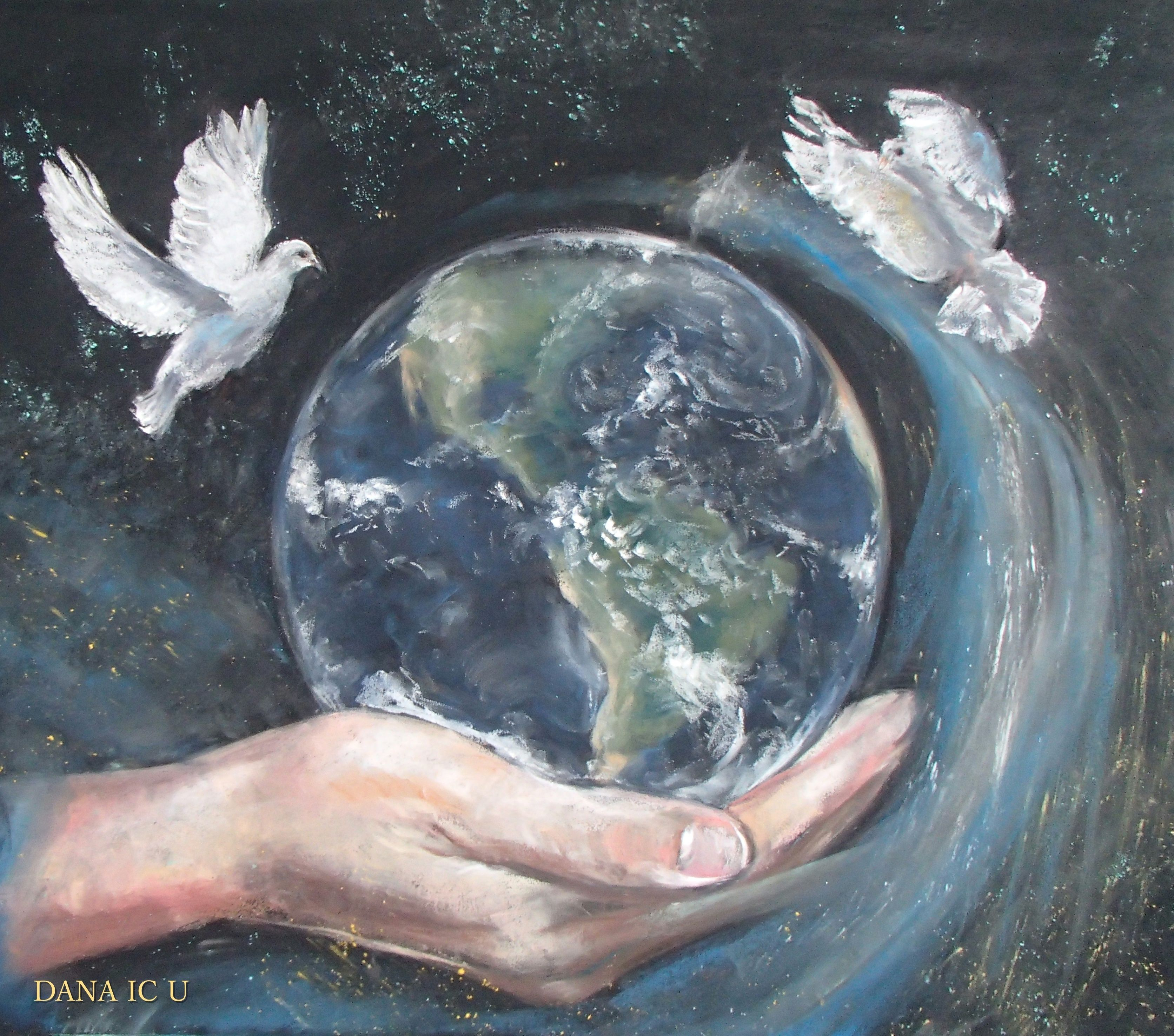 Peace On Earth Medium Sized Soft Pastel Painting Free For Download This Is Free Public Domain