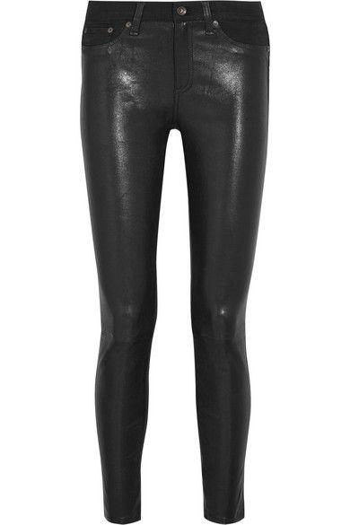 RAG & BONE Hyde Cropped Leather And Stretch-Denim Skinny Pants. #ragbone #cloth #pants
