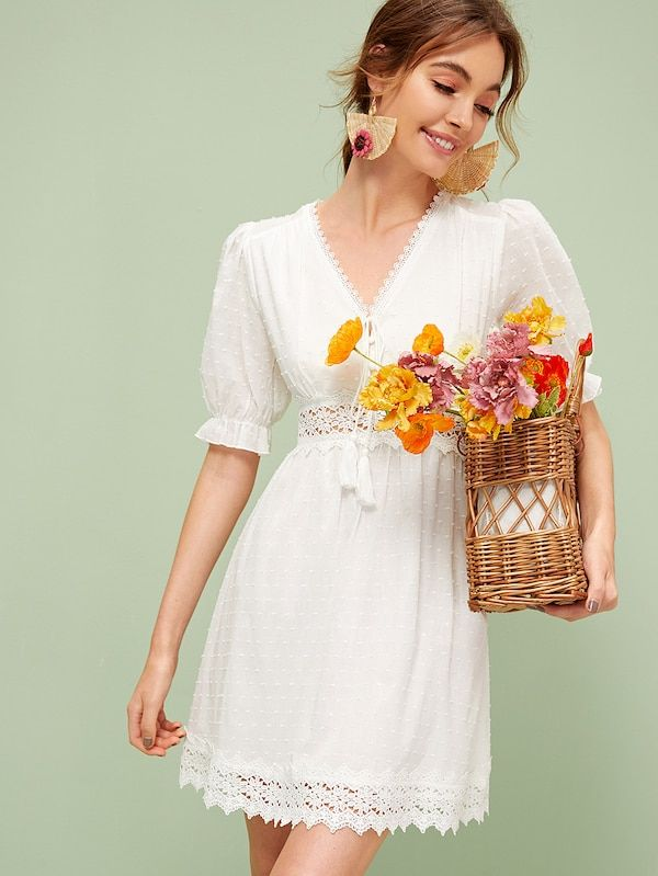 c57ea24f91 Tassel Tie Neck Guipure Lace Insert Swiss Dot Dress | SHEIN ...