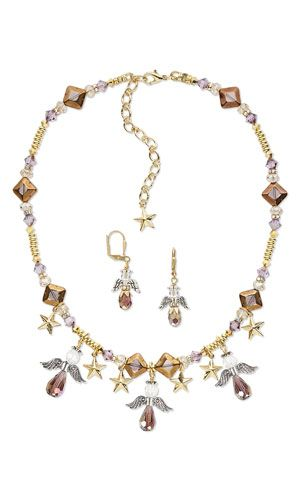 "Single-Strand Necklace and Earring Set with Copper-Plated Glass Beads, SWAROVSKI ELEMENTS and Glass and Antiqued Silver-Finished ""Pewter"" Beads - Fire Mountain Gems and Beads"