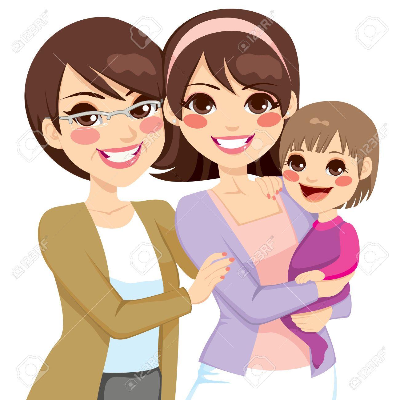 Mujeres: Tres generaciones. Ilustraciones vectoriales. Clip art vectorizado.