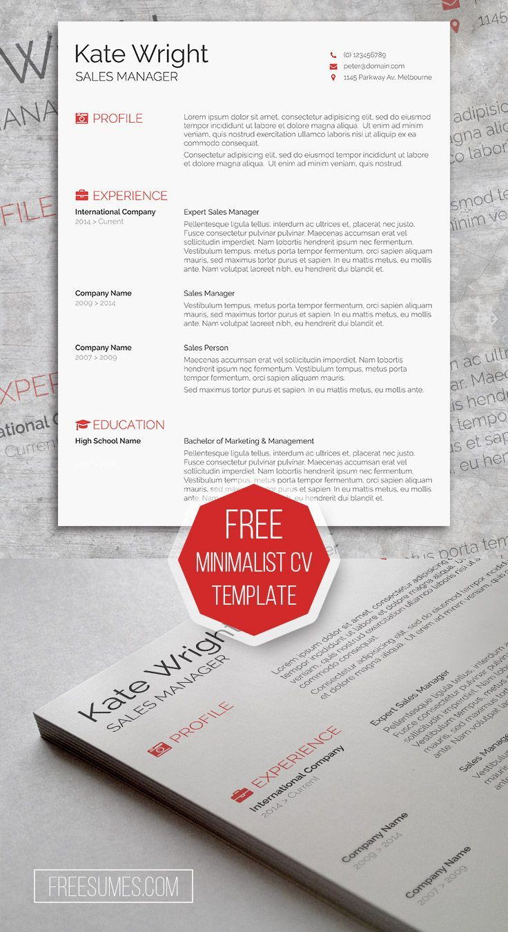 Free Clean & Minimalist CV Template for Microsoft Word for immediate ...