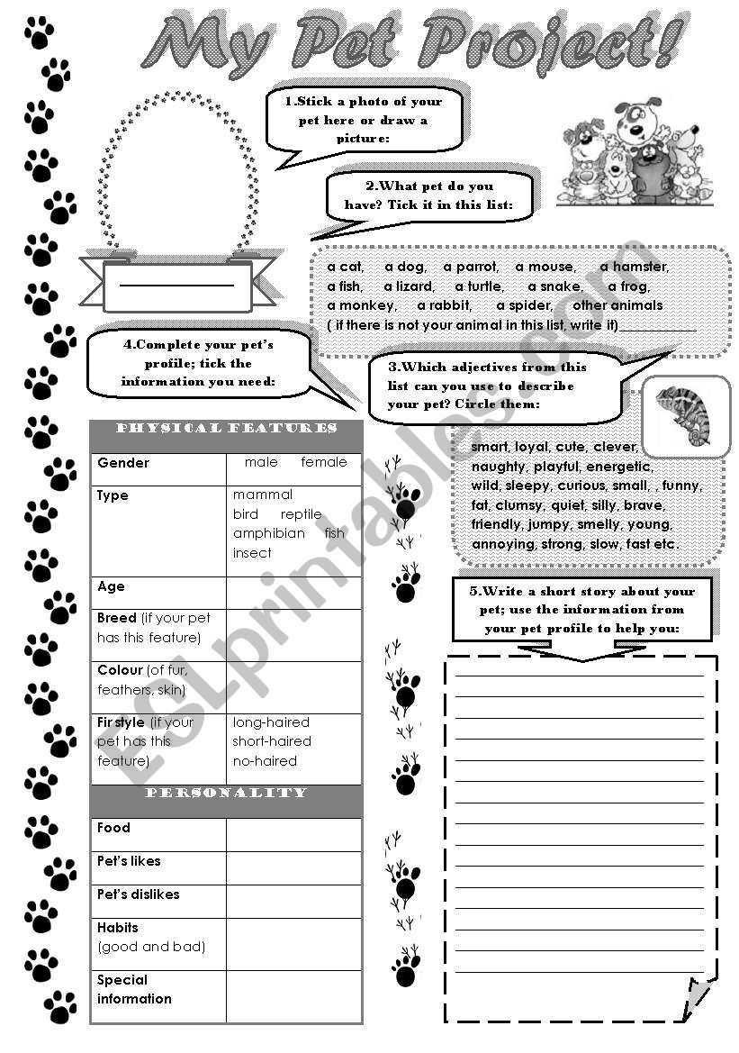 This Worksheet Will Help Your Students To Describe Their Favourite Animals Pets It Contains Adjectiv Writing Activities Animal Writing Vocabulary Worksheets [ 1169 x 821 Pixel ]