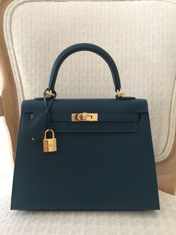 Hermes Kelly Bag 25cm 25 Blue Colvert Epsom Sellier BNIB eBoutique ... 9da989982f8