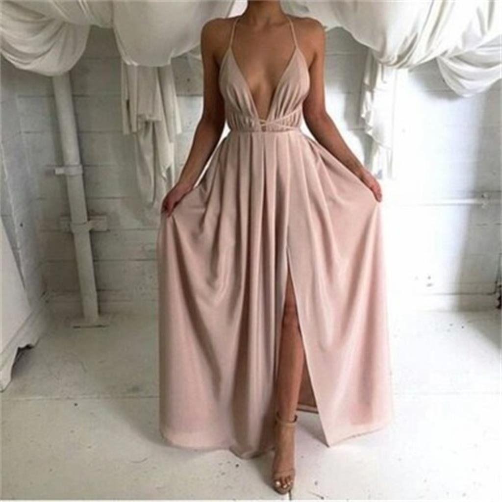 Chiffon simple long backless sexy halter cheap prom dresses bg