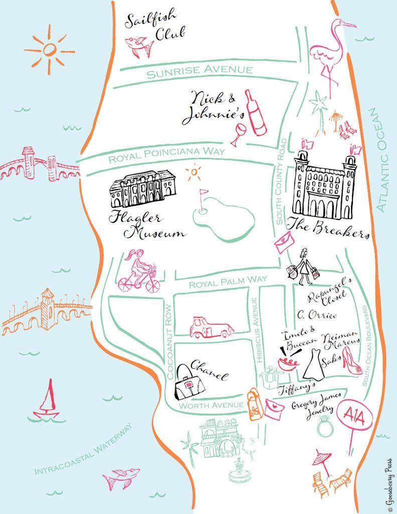 Palm Beach Florida Map.Our Guide To Palm Beach Shopping And Dining Michelle Conlon Beach