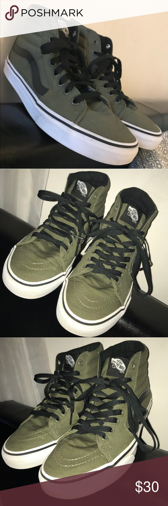 78d9d9a67c Olive green high top Vans women s sz 8 These unisex Vans are gently used  and in great condition. Women s size 8