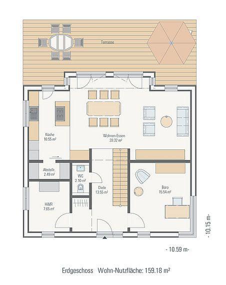 Stadtvilla mit Zeltdach Grundriss EG House plans, Floor