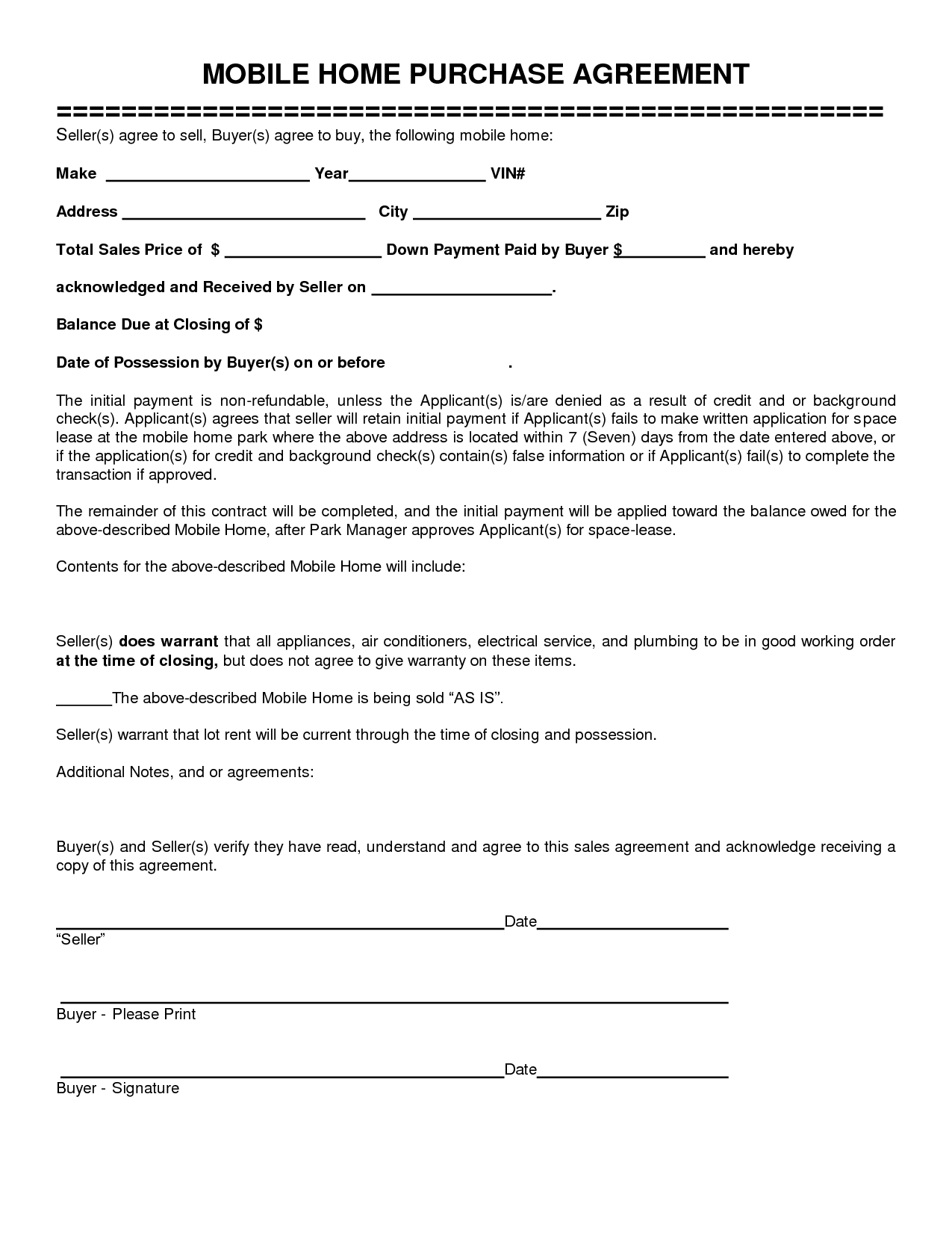 free mobile home purchase agreement to print Yahoo