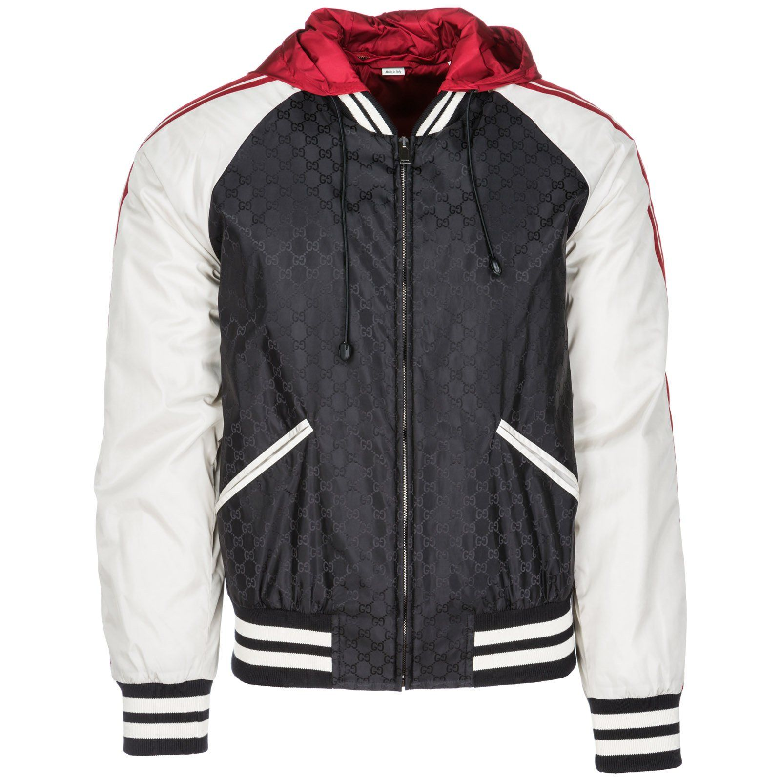 Gucci Gucci Contrasted Gg Hoodie Gucci Cloth Mens Outerwear Jacket Outerwear Jackets Gucci Men [ 1600 x 1600 Pixel ]