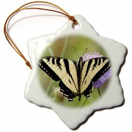 3dRose Western Tiger Swallowtail Butterfly feeds on a flower.(Papilio rutulus).Irvine,California, Snowflake Ornament, Porcelain, 3-inch -