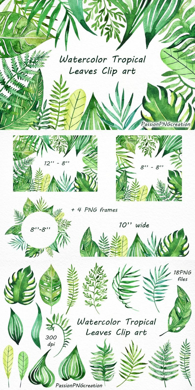 Watercolor Tropical Leaves Clip art, Handpainted clipart, PNG, diy greeting card, floral clipart, for Personal and Commercial Use -   18 tropical plants Watercolor ideas