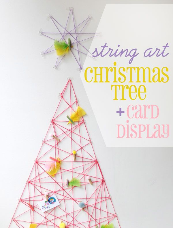 How To String Art Christmas Tree  Card Display String art, Card