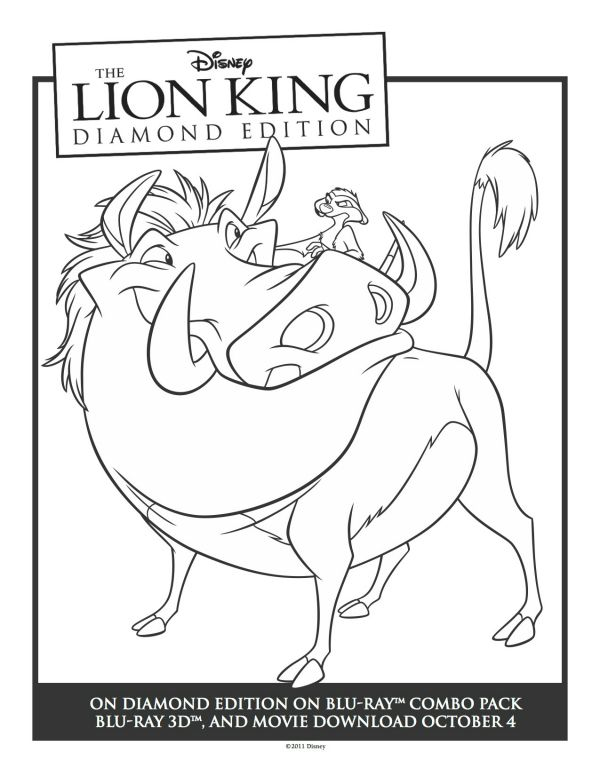 Free Printable Timon & Pumbaa Coloring Page (With images