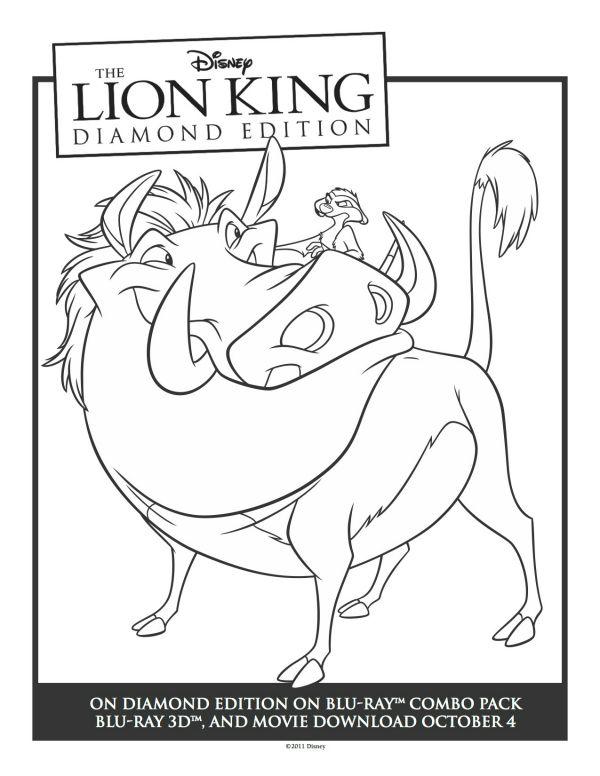 Printable Timon  Pumbaa Lion King Coloring Sheet  Printable