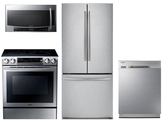 Samsung SAM4PC30EFSFDFCSSKIT1 4 Piece Kitchen Package With NE58F9500SS 30