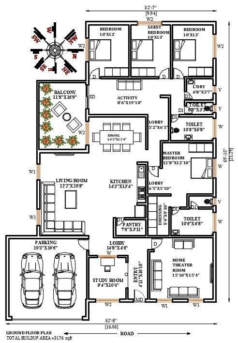 32 X70 East facing 4bhk house plan Download Now free CADBULL