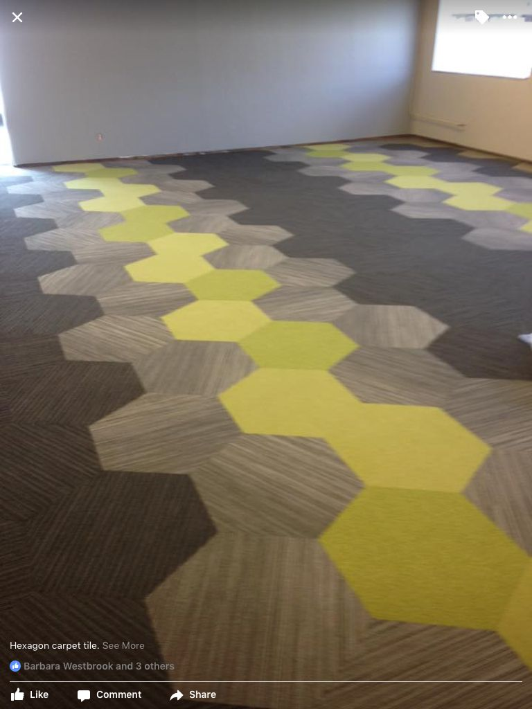 shaw hexagon carpet tile installed by