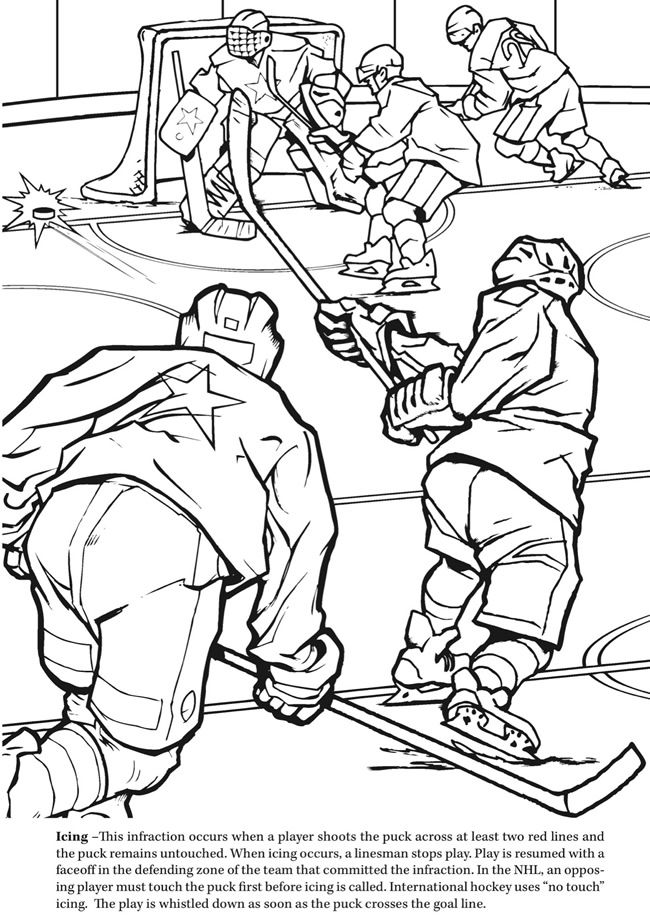 GOAL! The Hockey Coloring Book Dover Publications | sports coloring ...