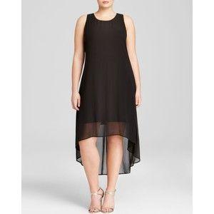 Karen Kane Plus High Low Sheer Overlay Dress