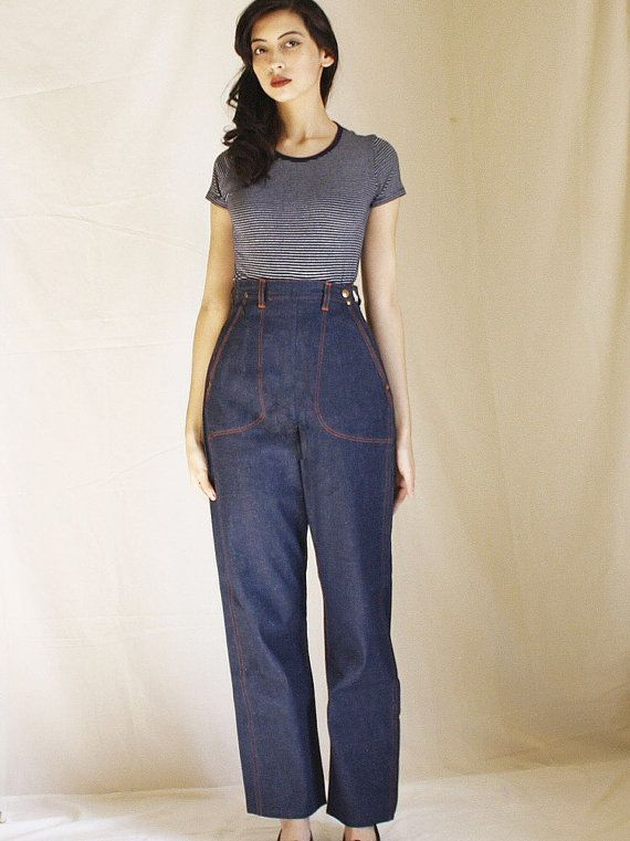 Clean Out Sale 125 to 75 Vintage 1940s Jeans   40s Pants   1950s Dungarees    50s Jeans   Vintage Denim Blue Bell Jeanies   High Waist 24-25 51ae5bb549e