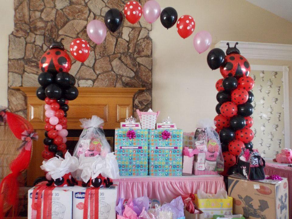 lady bug theme baby shower  balloon decor    lady bugs, Baby shower invitation
