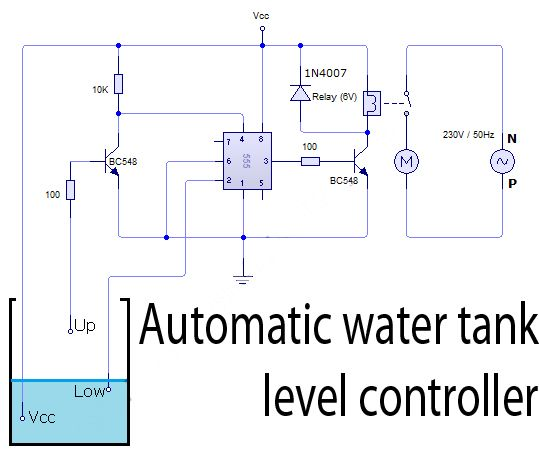 Automatic Water Tank Level Controller Circuit Watertank Automatic Circuitdiagram Electronics Circuit Electronic Circuit Projects Circuit Diagram