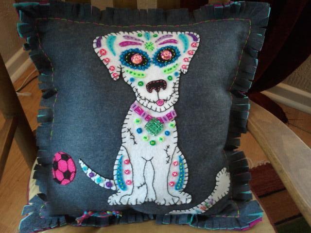 Sugar Skull Puppy Embroidered Felt Pillow