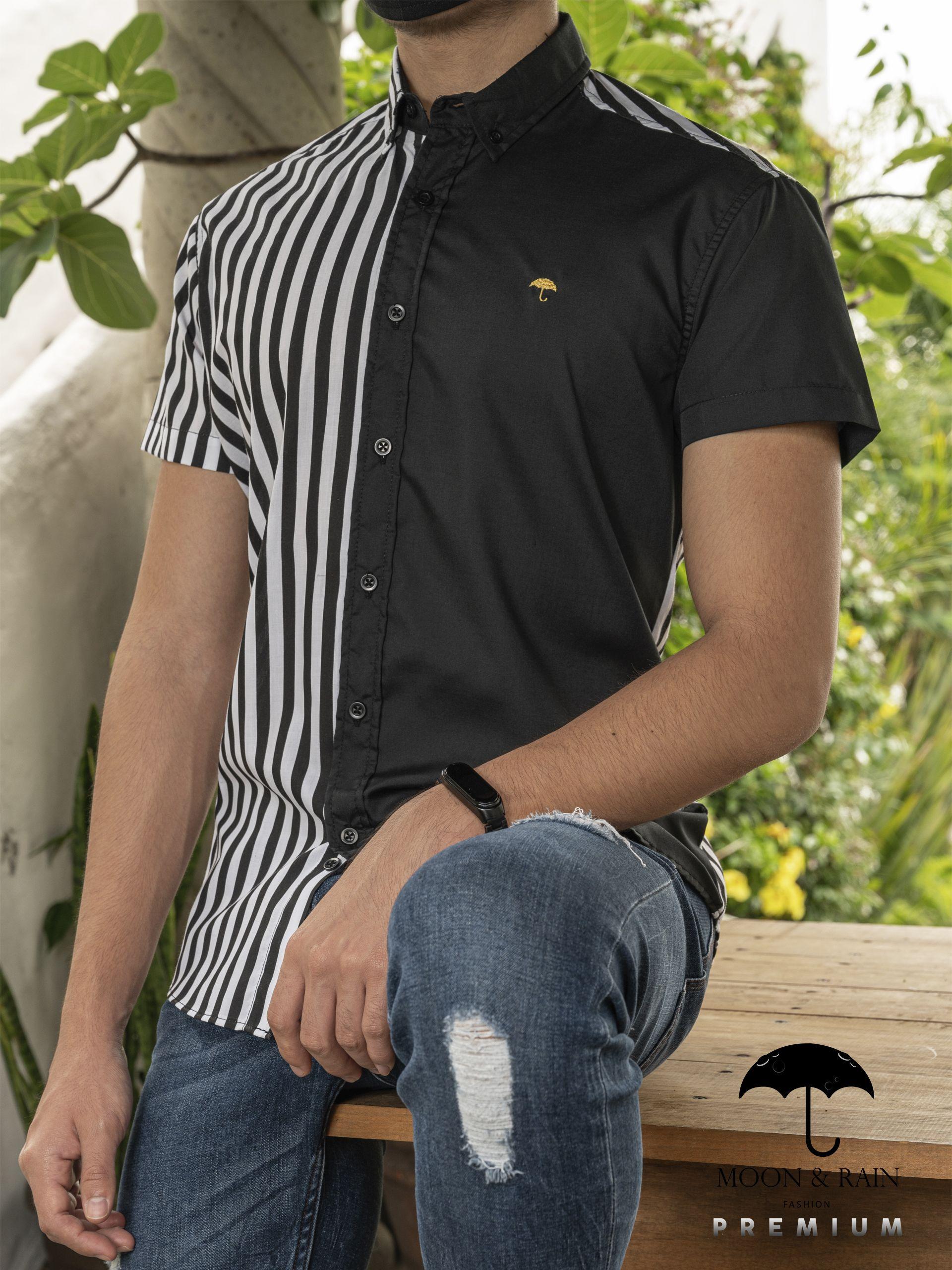Camisa Negra Con Blanco Y Franjas Negras Mens Tops Mens Fashion Men
