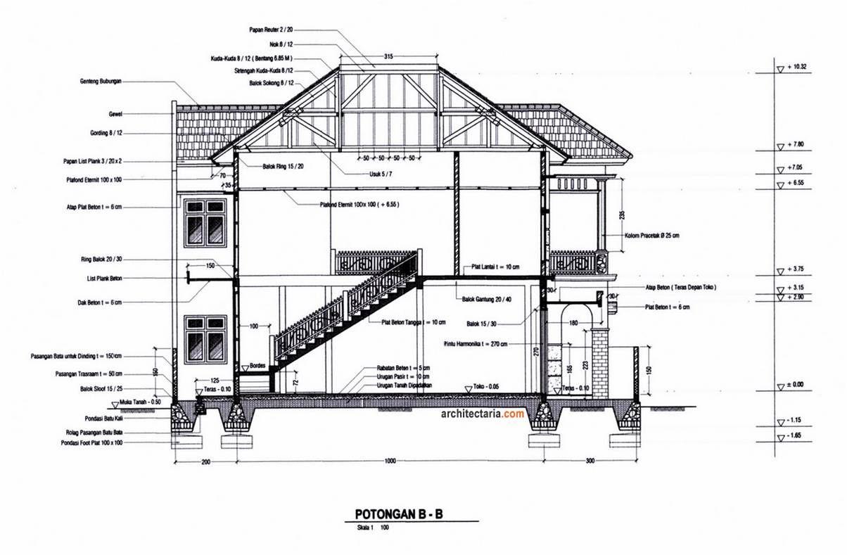 Pin Oleh Annisa Fauzia Di Orthographic Drawing Desain Rumah Lantai