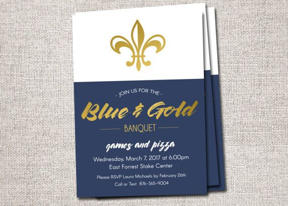 Blue and Gold Banquet invitations Blue and Gold by CardsEtcetera